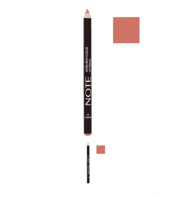 مداد لب مغذی نوت همراه با تست رنگ